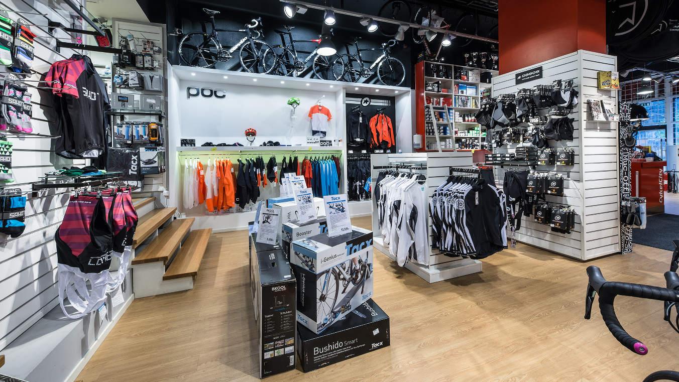 Butiken med bl a cyklar och kläder
